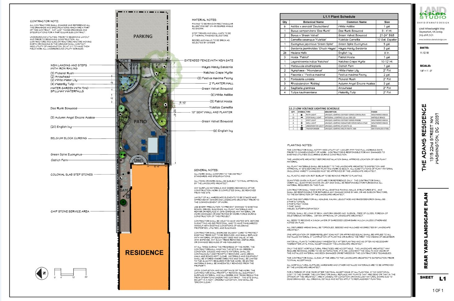 residential landscape architecture plan for DC courtyard project